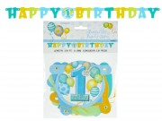 Banner felirat Happy Birthday fiús 119cm P23996