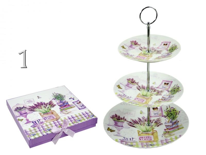 CQ4994 Levendulás süteményes tál 3 emeletes 35cm 2f - ajándék ötletek ba767f32cc