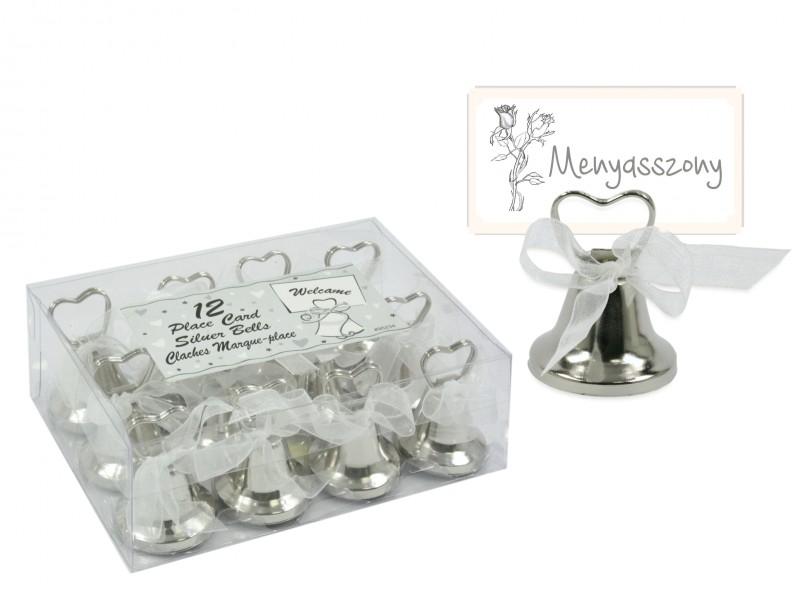 0483fa316d Csengő szett ültetőkártya-tartó ezüst 12db P95234 - ajándék ötletek