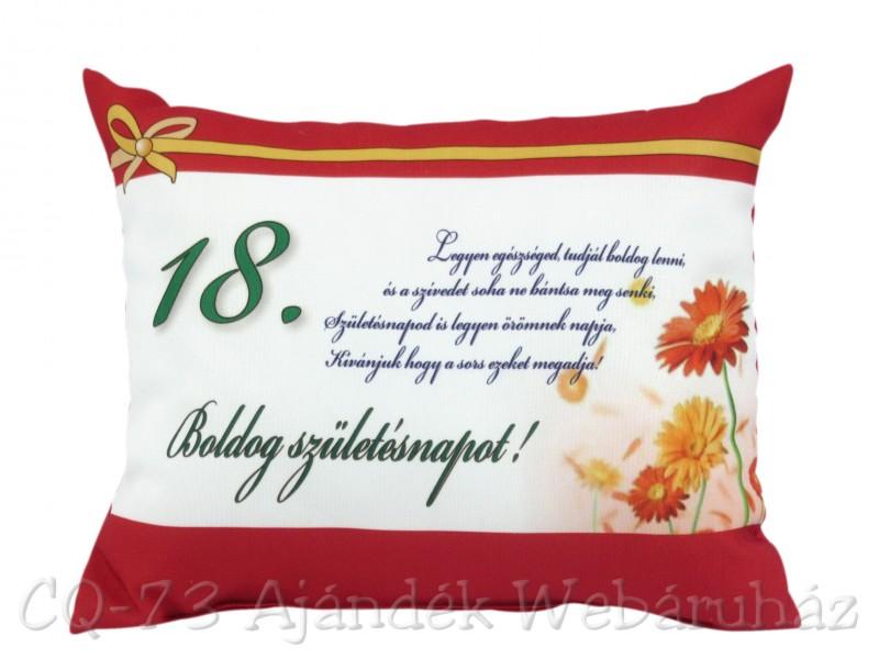 18 születésnapi képek Díszpárna Boldog születésnapot 18. 31x26cm VN1027/18   ajándék ötletek 18 születésnapi képek