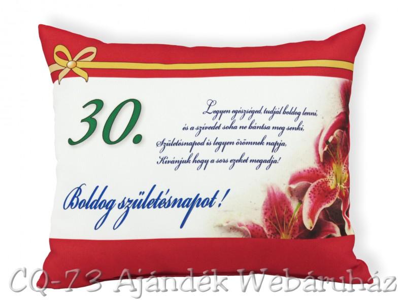 születésnapi képek 30 Díszpárna Boldog születésnapot 30. 31x26cm VN1028/30   ajándék ötletek születésnapi képek 30