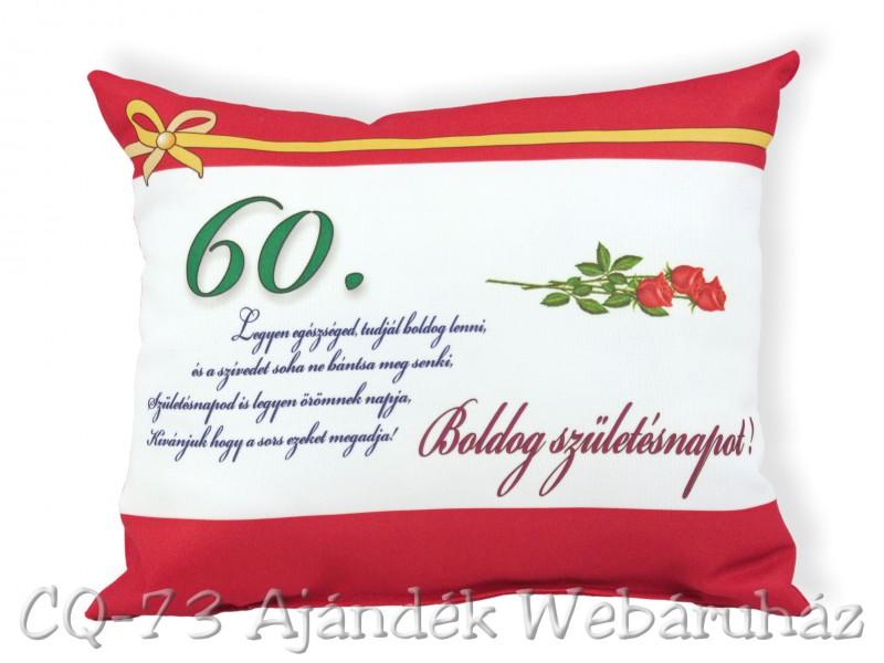 boldog 60 születésnapot képeslap Díszpárna Boldog születésnapot 31x26cm 60. VN1029   ajándék ötletek boldog 60 születésnapot képeslap