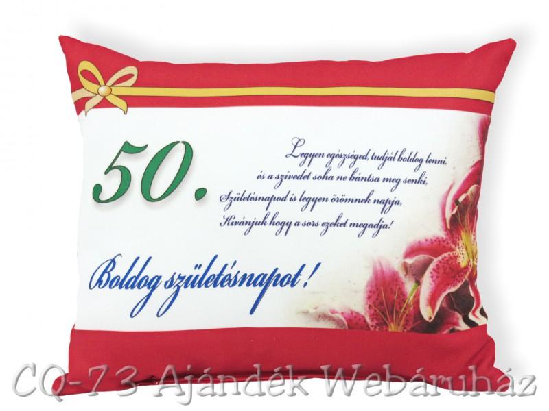 50 születésnapi képek Díszpárna Boldog születésnapot 50. 31x26cm VN1028/50   ajándék ötletek 50 születésnapi képek