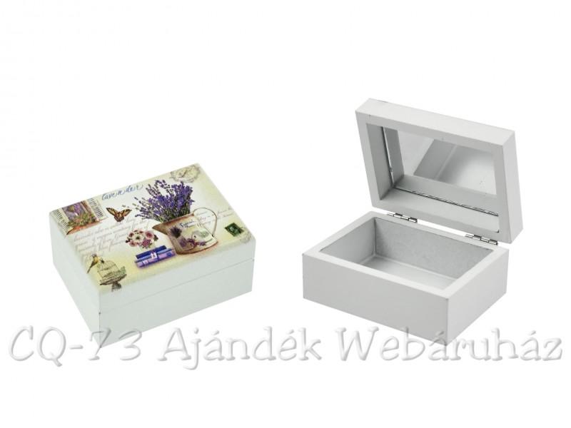 418235c99abf Ékszertartó doboz levendulás tükrös 8x6x4cm JS16070-3 - ajándék ötletek
