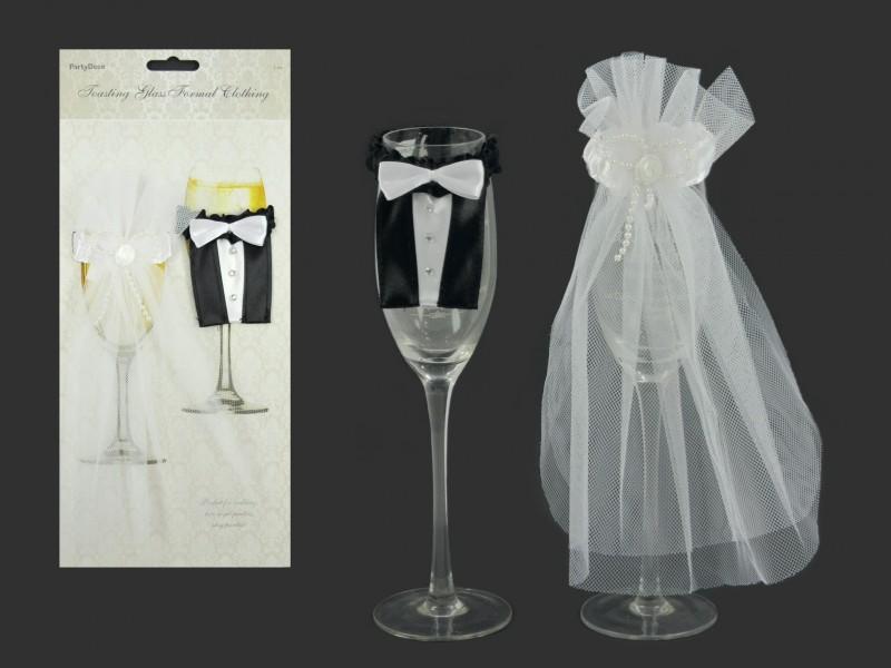eafc68f62a Pohár dekoráció - menyasszonyi vőlegény ruha 2db OUK. Pohár dekoráció -  menyasszonyi vőlegény ruha 2db OUK