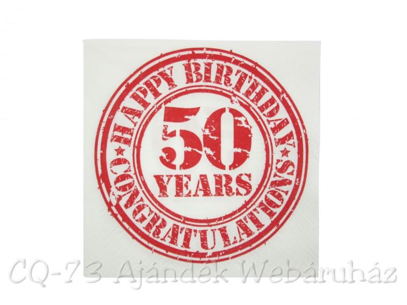 Szalveta 50 Years Happy Birthday 3 Retegu 20db 33cm 145180
