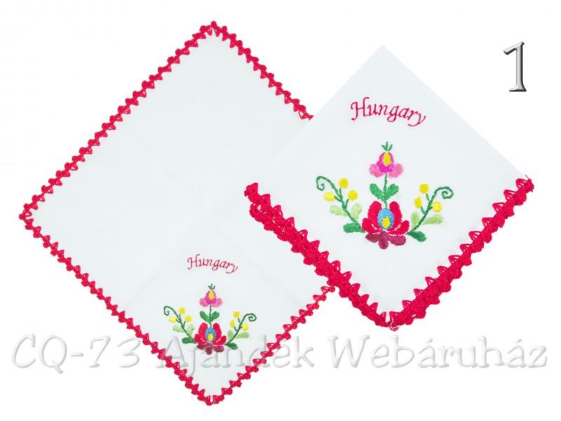 fa30d1fdc9 Zsebkendő hímzett kalocsai piros Hungary 24x24cm - ajándék ötletek